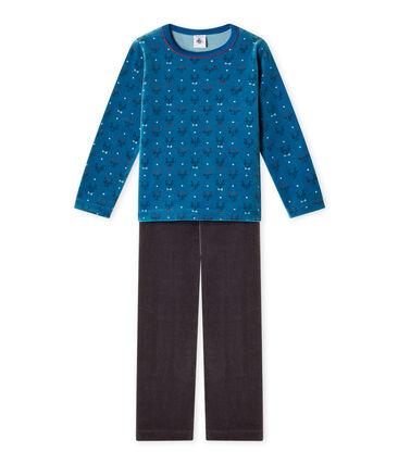 Pigiama per bambino in ciniglia grigio Capecod / blu Contes