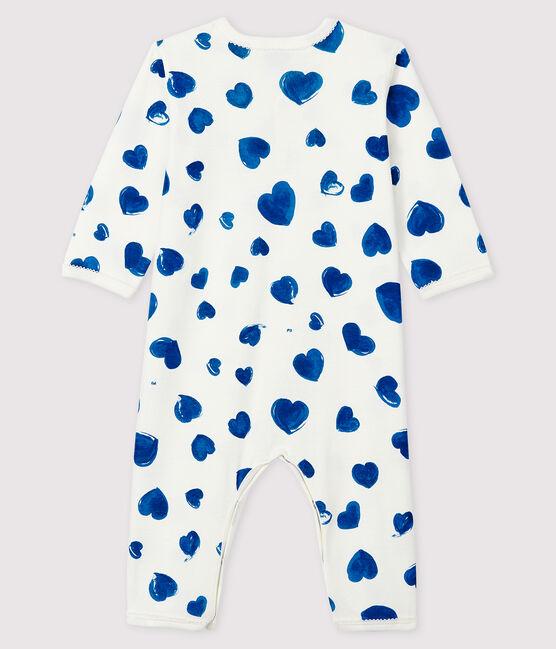 Tutina a cuori blu senza piedi bebè femmina a costine bianco Marshmallow / bianco Multico