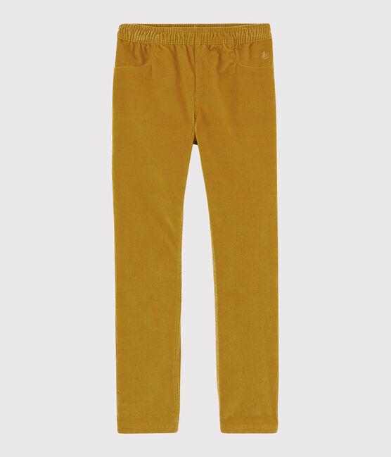 Pantaloni in velluto bambina giallo Topaze