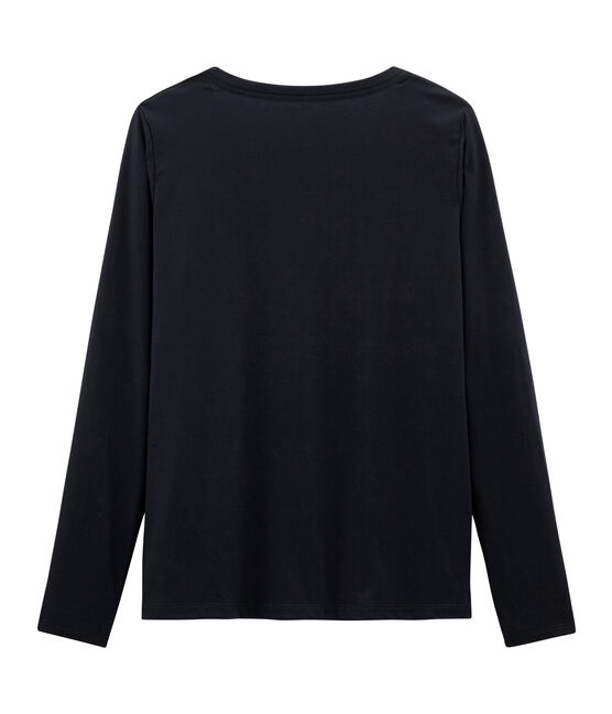 T-shirt manica lunga in cotone Sea Island donna blu Marine
