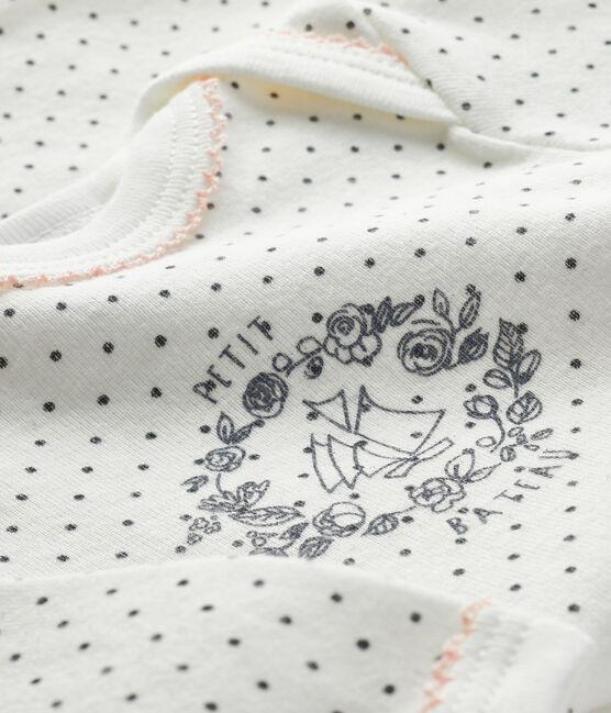 Body manica lunga bebè bianco Lait / grigio Maki