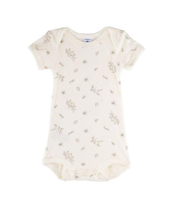 Body manica corta bebè bambina bianco Marshmallow / bianco Multico