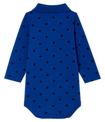 Body manica lunga bebè maschietto con colletto a polo blu Limoges / blu Smoking