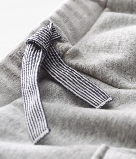 Pantalone bebè maschio in maglia di velluto grigio Beluga