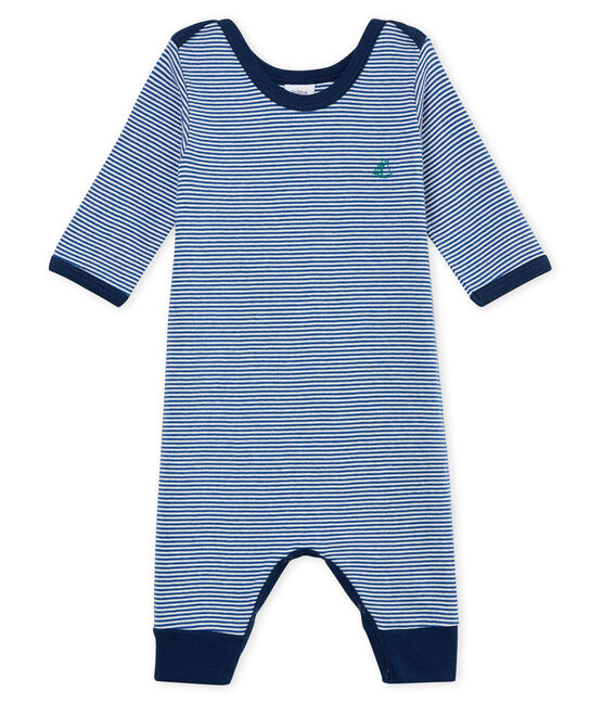Tutina pigiama senza piedi bambino a costine blu Major / bianco Marshmallow