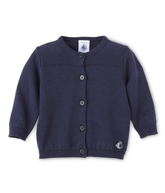 Cardigan bebé femmina in cotone blu Smoking