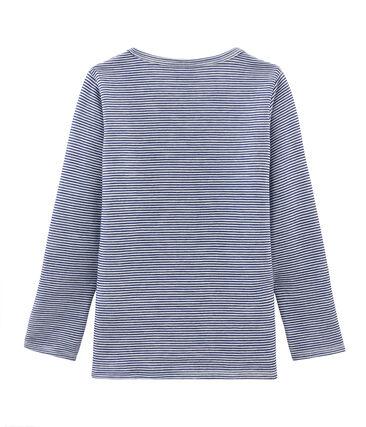 T-shirt a maniche lunghe in lana e cotone da bambino blu Medieval / bianco Marshmallow