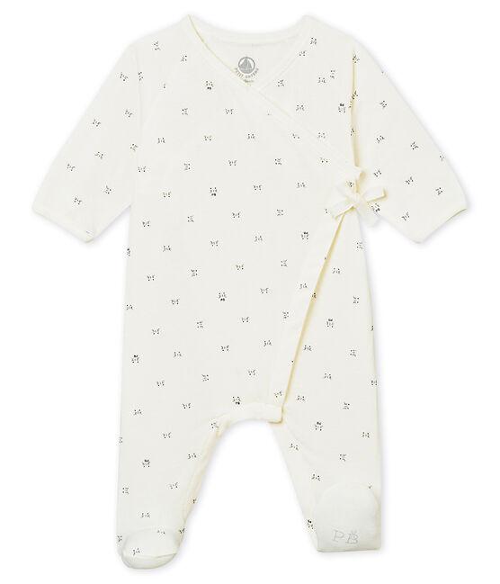 Tutina con apertura incrociata per bebé unisex bianco Marshmallow / nero Noir