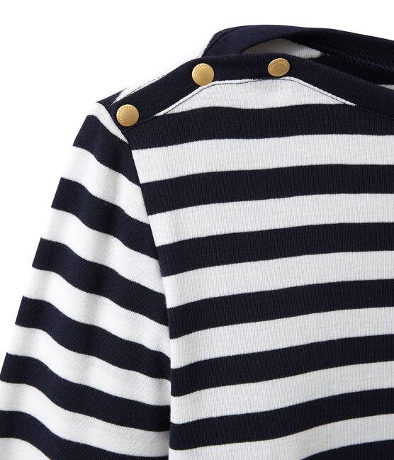 T-shirt donna a maniche lunghe a righe blu Smoking / bianco Marshmallow