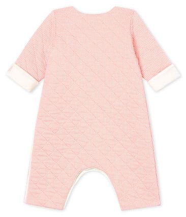 Tutina lunga bebè in tubique trapuntato rosa Charme / bianco Marshmallow