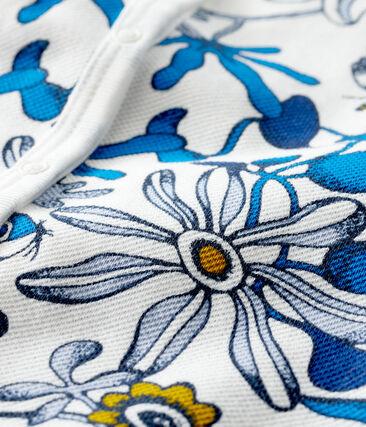 Tutina corta bebè femmina fantasia bianco Marshmallow / blu Haddock