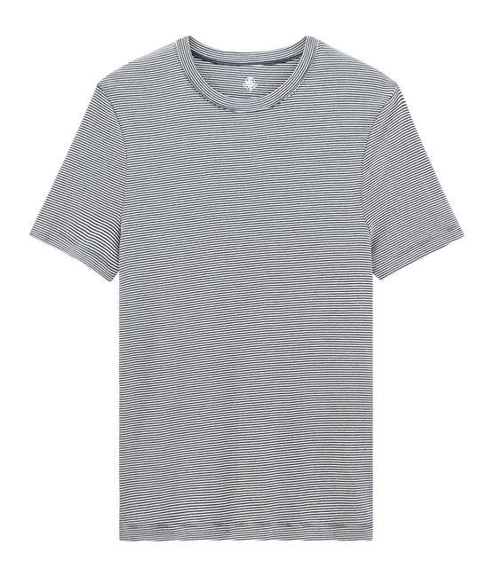 T-shirt manica corta iconica uomo girocollo blu Smoking / bianco Marshmallow
