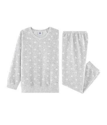 Pigiama bambina in ciniglia grigio Beluga / bianco Marshmallow