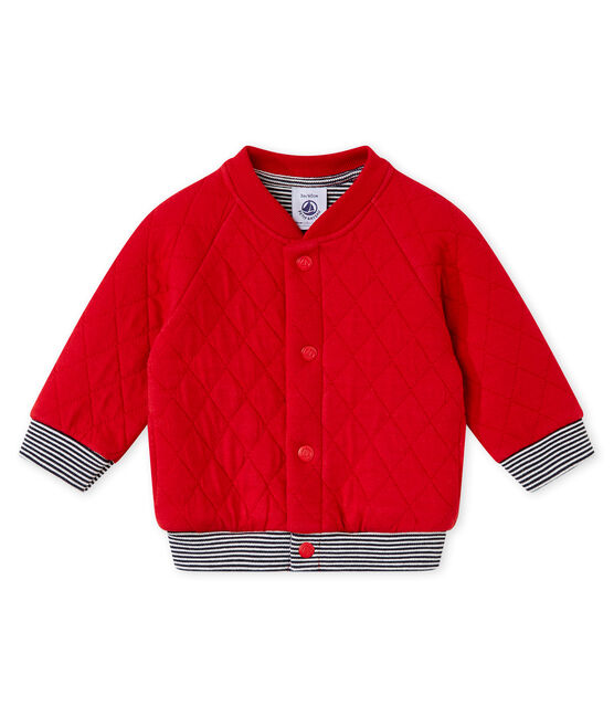 Cardigan per bebé maschio in tubique matelassé rosso Terkuit
