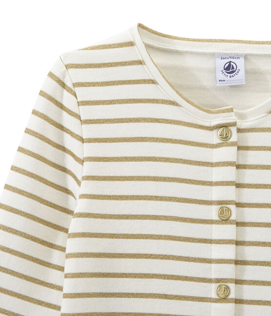 Cardigan doppio tessuto per bambina bianco Marshmallow / giallo Dore