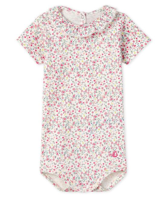 Body con colletto rotondo arricciato bebè femmina bianco Marshmallow / rosa Cupcake