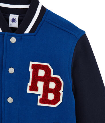 Blouson teddy per bambino in molleton rivestito blu Limoges / blu Smoking