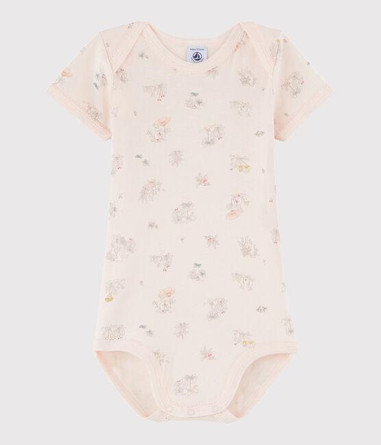Body manica corta bebè femmina rosa Fleur / bianco Multico