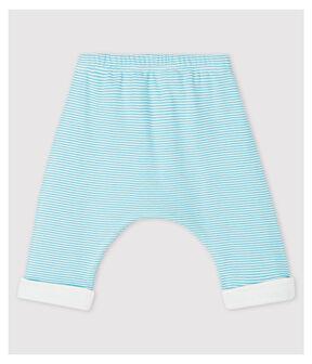 Pantaloni foderati a righe blu bebè in cotone biologico blu Tiki / bianco Marshmallow