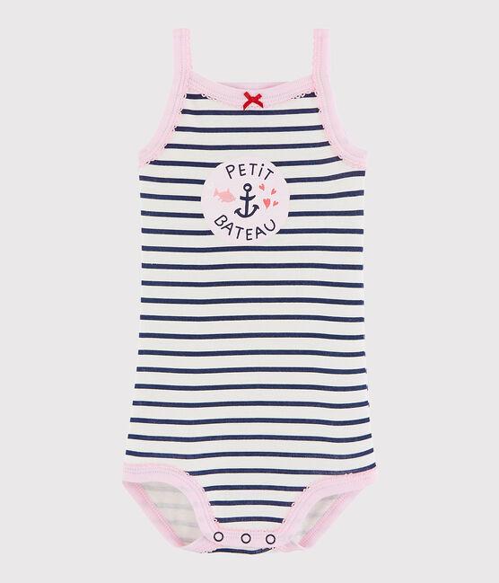 Body con spalline bebè femmina bianco Marshmallow / blu Medieval