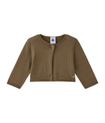 Cardigan bebé bambina in tricot marrone Shitake
