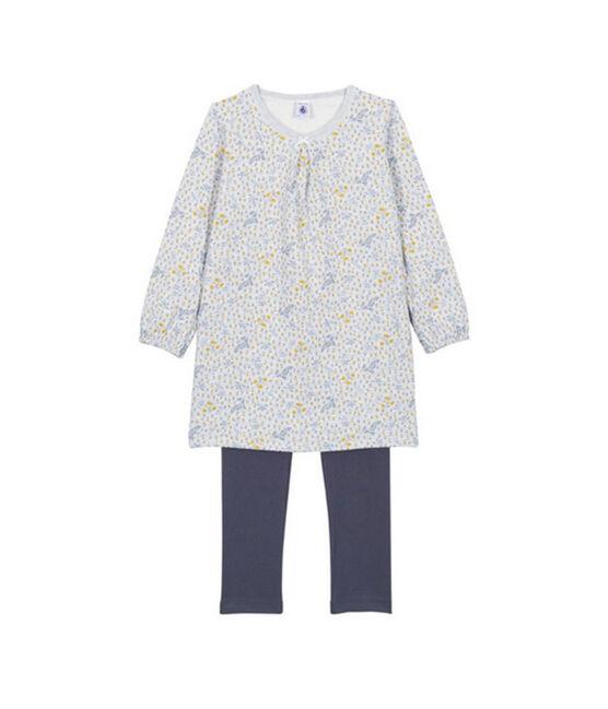 Camicia da notte per bambina con leggings grigio Poussiere / bianco Multico