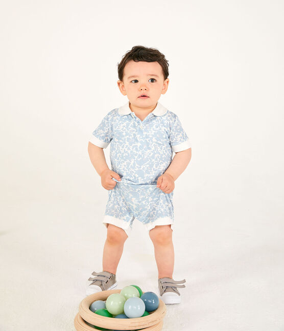 Tutina corta polo bebè maschio fantasia bianco Marshmallow / bianco Multico