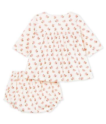 Abito e bloomer neonata a costine bianco Marshmallow / bianco Multico