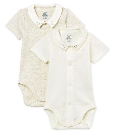 Confezione da 2 body manica corta con colletto bebè maschio lotto .