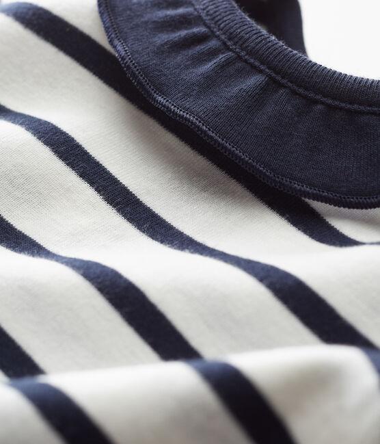 Blusa mc bebè femmina bianco Marshmallow / blu Smoking Cn