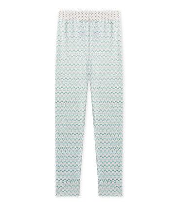 Pantaloni bambina per pigiama Mix&Match bianco Lait / verde Vert