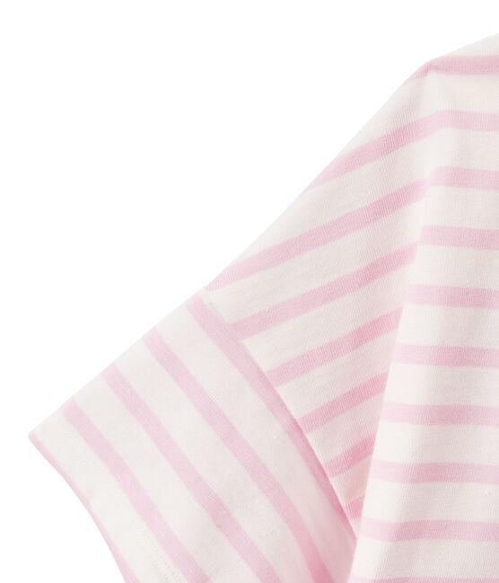 Marinière donna a maniche corte in jersey bianco Marshmallow / rosa Babylone