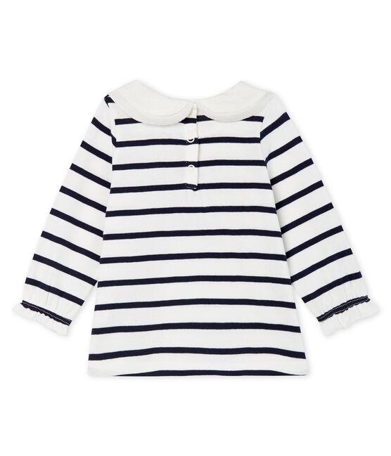 Blusa a manica lunga bebè femmina a righe marinare bianco Marshmallow / blu Smoking