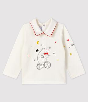 T-shirt con colletto a polo bebè maschio bianco Marshmallow