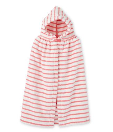 Accappatoio per bebé a righe bianco Lait / rosa Merveille