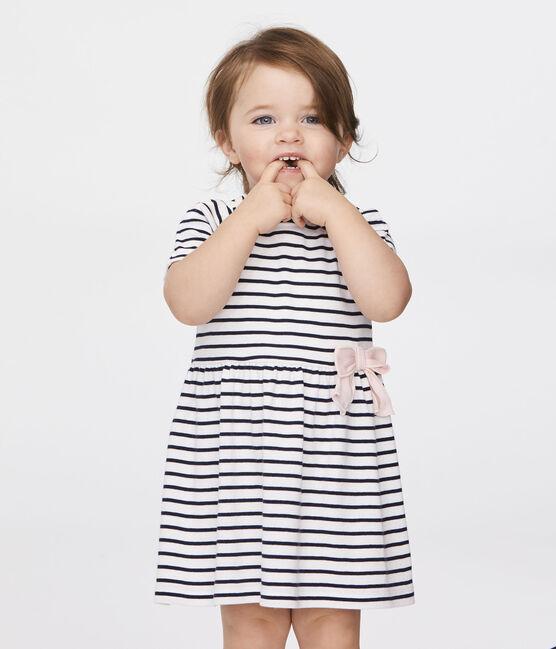 Abito a manica corta rigato bebè femmina bianco Marshmallow / blu Smoking