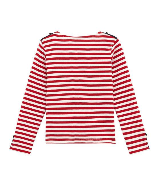 Marinière rivisitata per bambina rosso Terkuit / bianco Marshmallow