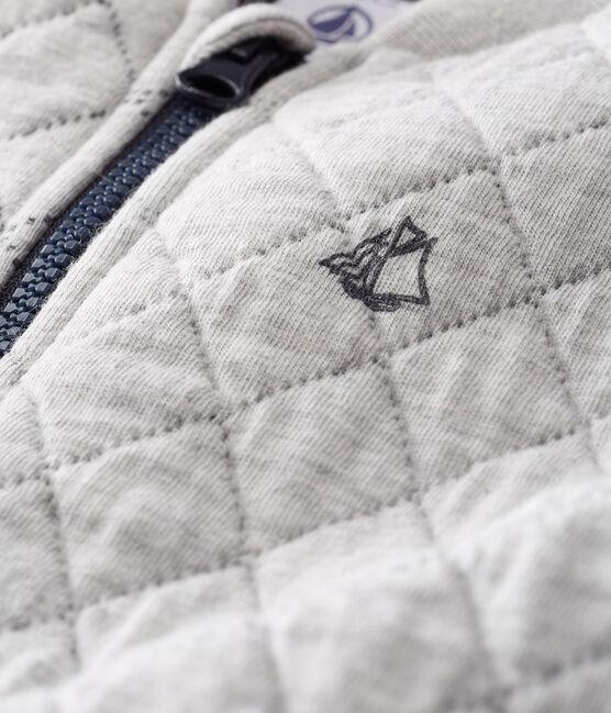 Cardigan in tubique trapuntato bebè maschio grigio Beluga