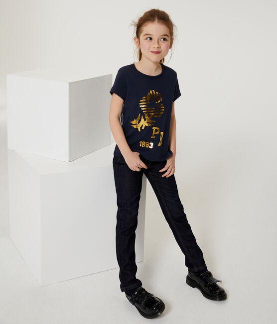 T-shirt a maniche corte bambina blu Smoking
