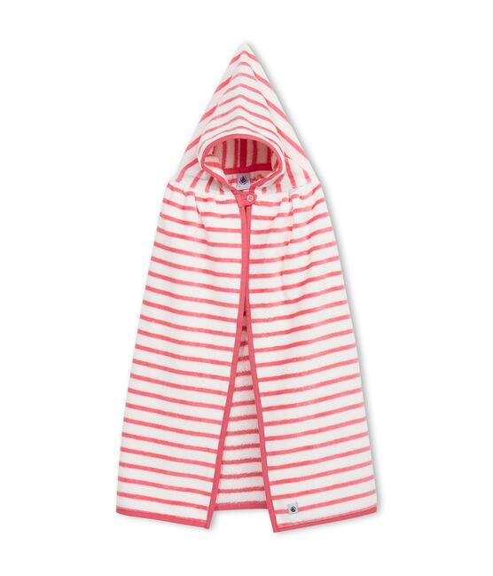 Mantellina da bagno bebè unisex in spugna bianco Lait / rosa Merveille