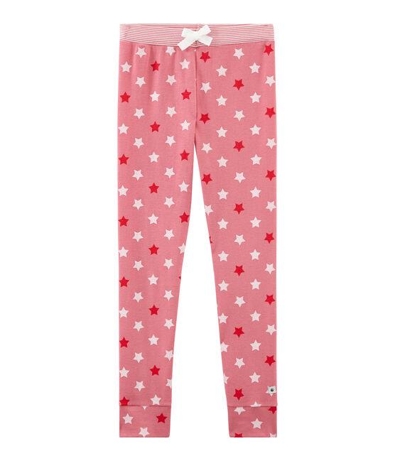 Pantalone per pigiama bambina rosa Cheek / bianco Multico