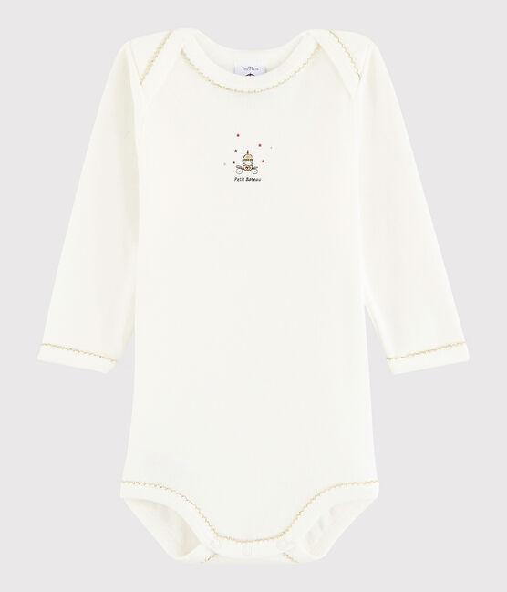 Body manica lunga bebè femmina bianco Lait