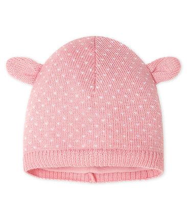 Cappellino bebè unisex foderato in pile rosa Charme / bianco Marshmallow