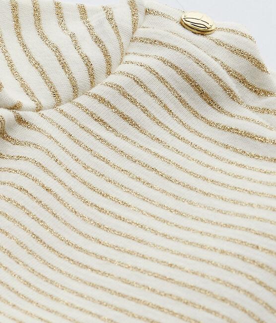 Abito bebè bambina maniche corte bianco Marshmallow / marrone Em Dore