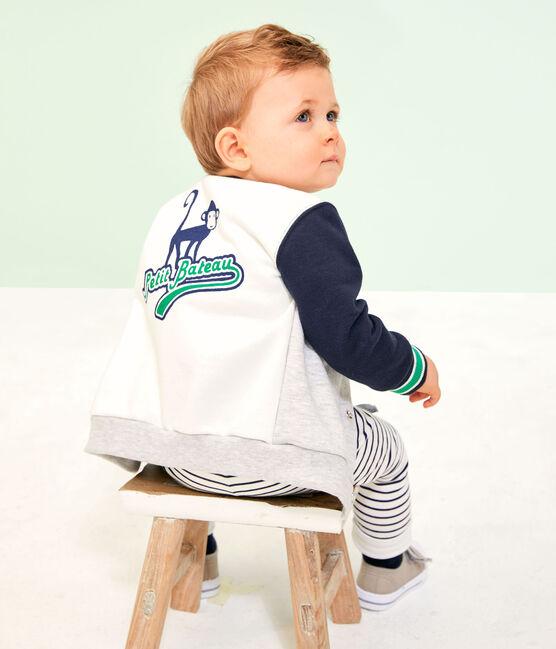 Cardigan bebè maschio in felpa grigio Beluga / bianco Multico