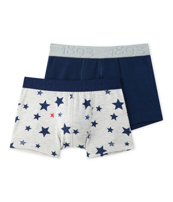 Lotto di 2 boxer per bambino in jersey stretch: con stampa + in tinta unita lotto .
