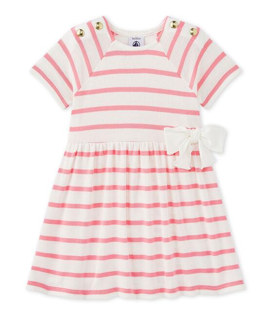 Abito per bebè femmina a righe bianco Marshmallow / rosa Petal