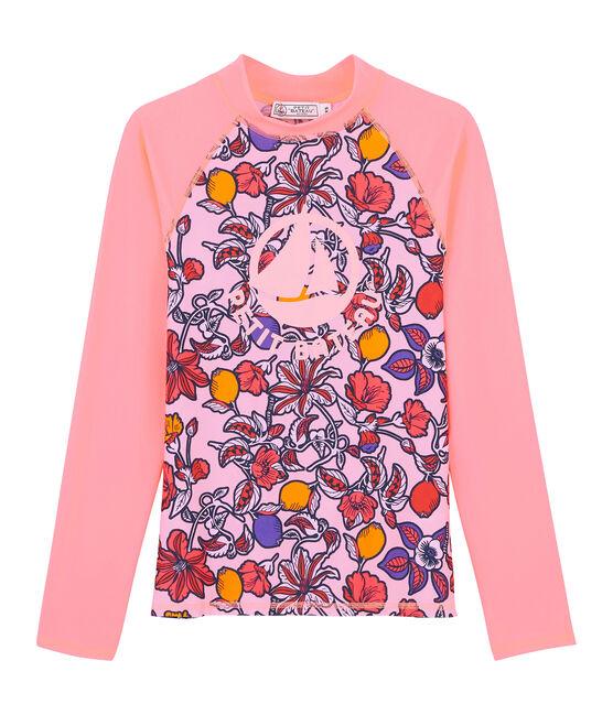 T-shirt anti UV UPF 50+ ecoresponsabile rosa Patience / bianco Multico