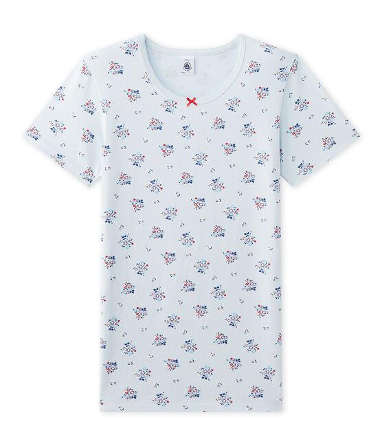 T-shirt fille imprimé en jersey stretch blu Fraicheur / bianco Multico