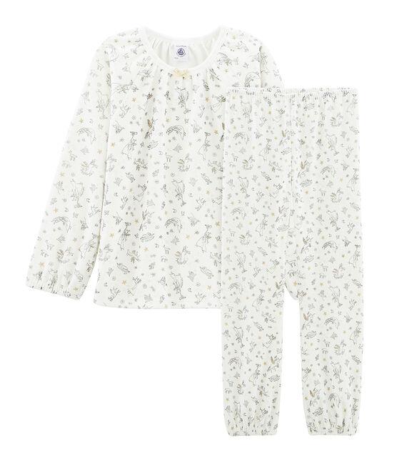 Pigiama bambina in ciniglia bianco Marshmallow / bianco Multico Cn